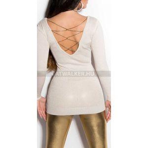 Kötött ruha mellén és hátán arany színű lánccal díszített, csillámos - krém - catwalker kép