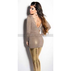 Kötött ruha mellén és hátán arany színű lánccal díszített, csillámos - vakond - catwalker kép