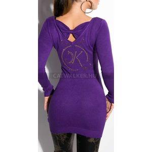 Kötött ruha hátán strasszos mintával - lila - catwalker kép
