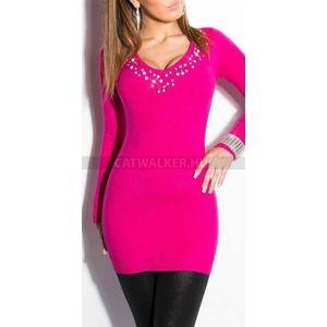 Kötött ruha mellén kövekkel díszített - pink - catwalker kép