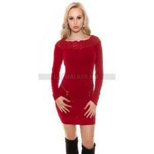 Kötött ruha cipzárral díszített, nyakán csipkés - piros - catwalker kép