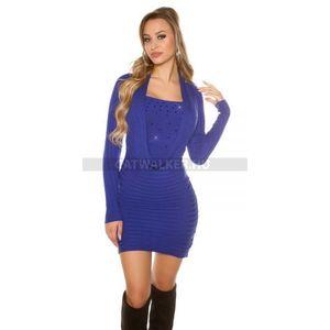 Kötött ruha strasszos - kék - catwalker kép