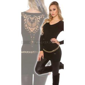 Kötött ruha hátán hímzett - fekete - catwalker kép
