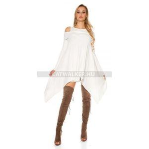 Kötött ruha bő fazonú, aszimmetrikus - fehér - catwalker kép