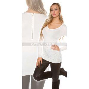 Kötött ruha strasszos, hátán cipzáros - fehér - catwalker kép