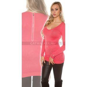 Kötött ruha strasszos, hátán cipzáros - korál - catwalker kép