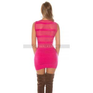 Kötött ruha strasszos, hátán áttetsző - pink - catwalker kép