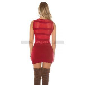 Kötött ruha strasszos, hátán áttetsző - piros - catwalker kép