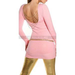 Kötött ruha hátán lánccal díszített - lazac - catwalker kép