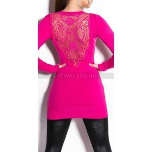 Kötött ruha hátán hímzett - pink - catwalker kép
