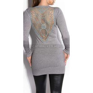 Kötött ruha hátán hímzett - szürke - catwalker kép