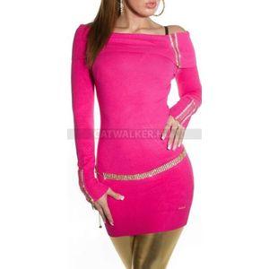 Kötött ruha carmen vállas, cipzáros - pink - catwalker kép