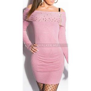Kötött ruha carmen vállas, strasszos, cipzáros - rózsaszín - catwalker kép