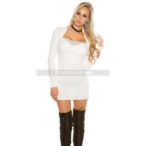 Kötött ruha mellén csipkés - fehér - catwalker kép