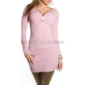 Kötött ruha ISF8166 mellénél húzott, köves - rózsaszín - catwalker kép