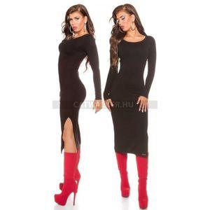 Kötött ruha hosszú - fekete kép