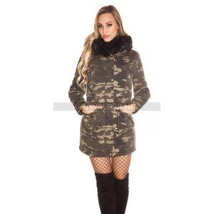 Női télikabát terepszínű, műszőrmés, kapucnis - fekete - catwalker kép