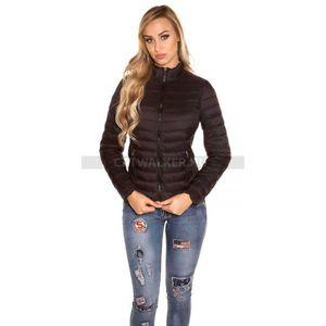 Női kabát steppelt cipzáros - fekete kép