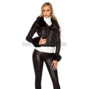 Női kabát bőrhatású, rövid - fekete - catwalker kép