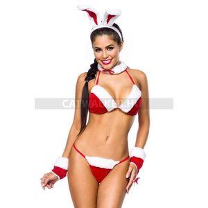 Szexi fehérnemű szett, karácsonyi nyuszi - piros-fehér - catwalker kép