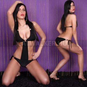 Szexi ruha, gogo, csatos, megkötős body - fekete - catwalker kép