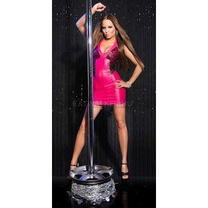 Szexi ruha, gogo, party ruha, nyakbakötős, csipkés - pink - catwalker kép
