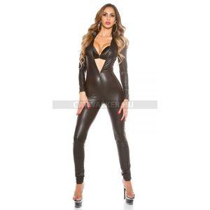 Szexi ruha, gogo, vizes hatású overál - fekete - catwalker kép