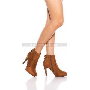 Női bokacsizma csipkés díszítéssel, cipzárral - barna - catwalker kép