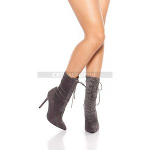 Női bokacsizma magassarkú, fűzős - antracit - catwalker kép