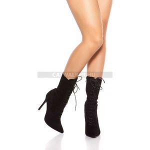 Női bokacsizma magassarkú fűzős - fekete kép