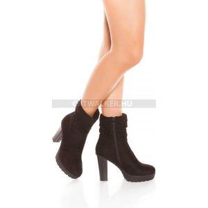 Női bokacsizma magassarkú cipzáros - fekete kép