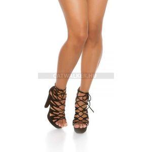 női cipő magassarkú fűzős - fekete kép