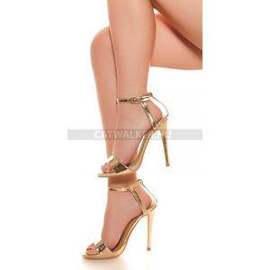 Női cipő magassarkú szandál - arany kép