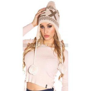 Női kötött sapka bojtos fülvédős - rózsaszín (39 db) - Divatod.hu 76676969ec