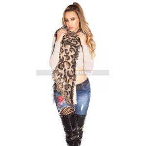 Női sál extra nagy méretű, leopárd mintás, rojtos - bézs - catwalker kép