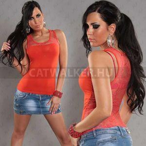 Női top, csipkés hátú - narancs - catwalker kép