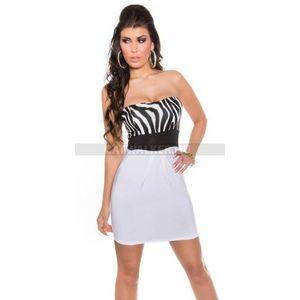 Miniruha pánt nélküli, hasán ráncolt - zebra-fehér - catwalker kép