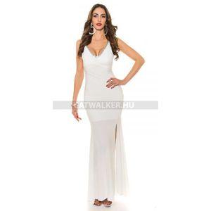 Estélyi ruha mellén csipkés, kövekkel díszített - fehér - catwalker kép