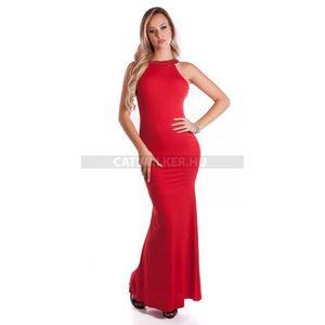 Estélyi ruha hátán kivágott, strasszos - piros - catwalker kép