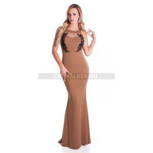 Estélyi ruha horgolt dísszel, hátán kivágott - barna - catwalker kép