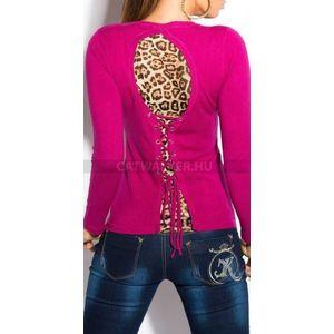 Női kötött pulóver hátán leopárd mintás, fűzős - pink - catwalker kép