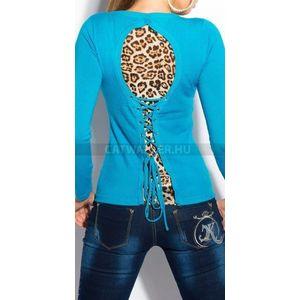 Női kötött pulóver hátán leopárd mintás, fűzős - türkiz - catwalker kép