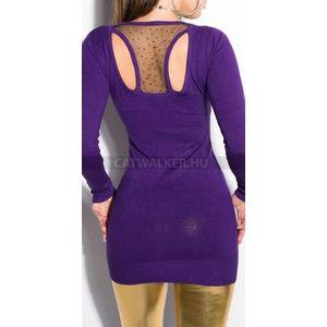 Kötött ruha hátán áttetsző anyaggal, szegecsekkel díszített - lila - catwalker kép