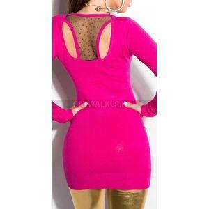 Kötött ruha hátán áttetsző anyaggal, szegecsekkel díszített - pink - catwalker kép