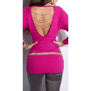 Kötött ruha hátán nyitott, láncos - pink - catwalker kép
