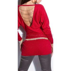 Kötött ruha hátán nyitott, láncos - piros - catwalker kép