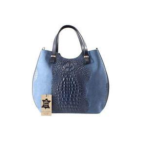 Michal Negrin Krokodil mintás ívelt kék kézi táska kép