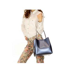 Michal Negrin Metál kék olasz bőr kézi táska kép