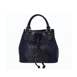 Michal Negrin Sötét kék kézi táska krokodil mintával kép