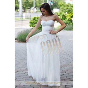Pánt nélküli fehér maxi tüll ruha kép